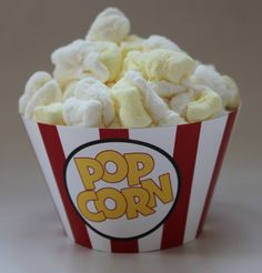 INSTANT DOWNLOAD Movie Popcorn Box Cupcake Wrappers Digital Printable PDF File. $3.95, via Etsy.
