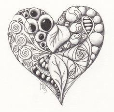 Heart zentangle tile