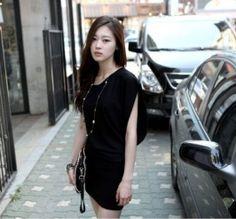 $6.15 Decent Cutting Pure Irregular Sleeves Dress Black