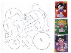 Bonecas em eva com moldes Paper Piecing Patterns, Embroidery Patterns, Foam Crafts, Paper Crafts, Scrapbook Patterns, Diy Quiet Books, Diy Magnets, Decorate Notebook, Felt Fabric