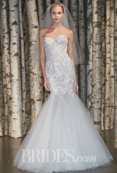 "Brides.com: . ""Madison"" strapless tulle trumpet wedding dress with an embroidered threadwork bodice and a sweetheart neckline, Naeem Khan"