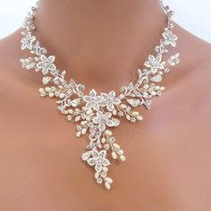 Bridal necklace and earrings set Pearl by TheExquisiteBride, $105.00