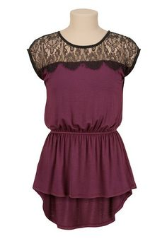 High-Low Peplum Top with Lace available at #Maurices