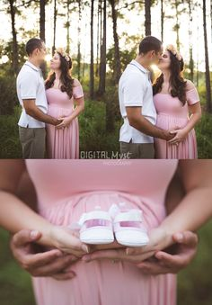 Nicole & Yadian's Land O Lakes Rustic Charm Maternity Photography Session | DigitalMyst Photography of Land O Lakes specializes in children and family photography.  This pink gown was a perfect maternity session go to!  | Tampa FL Maternity Photography