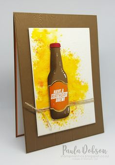 A good ol' beer for a kiwi bloke and Brusho Crystal Colour background. Featuring the Bubble Over Bundle from Stampin' Up! Masculine Birthday Cards, Masculine Cards, Chocolate Card, Bubble Bottle, Washi Tape Cards, Paper Cards, Men's Cards, Greeting Cards, Creating A Blog