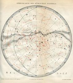 featherandmoss:    Star map of the Southern Hemisphere.