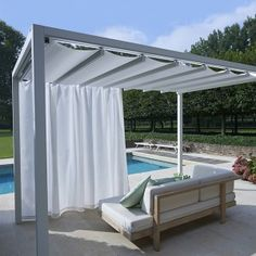 Retractable Roof Poolside Cabanas | Shelter | Outdoor - Living