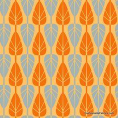 Fabric... Mod Charm 3 Trees on Orange by Anthology Fabrics