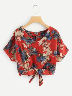 Floral Print Knot Back TopFor Women-romwe Source by adargelysc blouse designs cute tops Cute Blouses, Blouses For Women, Blouse Styles, Blouse Designs, Fashion Clothes, Fashion Outfits, Casual Outfits, Cute Outfits, Schneider