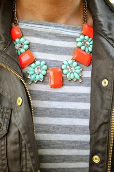 Olive Jacket , Grey / White Stripes. Mint / orange statement necklace