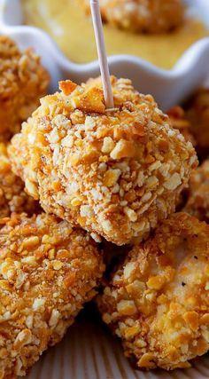 Baked Crispy Pretzel Chicken Bites - thebestglutenfreerecipes.com
