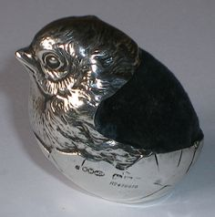 Antique Silver Sampson Mordan Novelty Chick Pin Cushion, Chester 1906 Sewing
