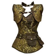GE-265 - Long Brown and Gold Brocade Pattern Steampunk Corset with Matching Jacket