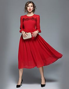 Women's Daily Work Casual Street chic A Line Swing Midi Dress,Solid Round Neck 3/4 Length Sleeves