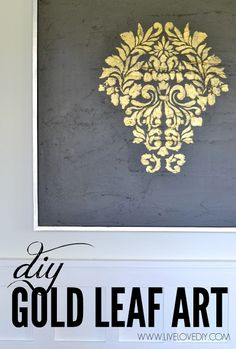 DIY gold leaf painting! (Easy tutorial using a stencil and some amazing gold paint that mimics real gold leaf!)