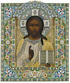 Pavel Ovchinnikov, gilt-silver and cloisonne enamel Icon of Christ Pontocrator, Moscow, c. 1884