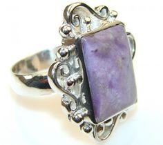 Jumbo Lovely Siberian Charoite Sterling Silver ring s. 10