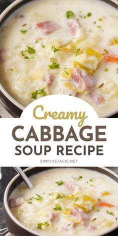Creamy Cabbage Soup Recipe, Cabbage Soup Recipes, Easy Soup Recipes, Cooking Recipes, Healthy Recipes, Soup With Cabbage, Cabbage Chicken Soup, Cabbage Lasagna, Cabbage Soup Diet