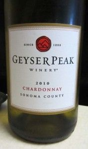 2010 Geyser Peak Chardonnay - a wonderfully balanced white wine with a fruity aroma, tastes of tropical pineapple and pears and with a vibrant acidity that pairs well with spicy Asian and Indian cuisines. Priced around $10.