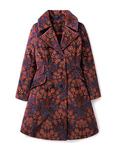 """Boden ICONS Chelsea Coat. """"We pictured this coat on an iconic model in the Sixties, stepping out on to a swinging Kings Road. It's a classic cut with a nostalgic, beatnik feel. The patterned velvet is a real retro statement – hand-drawn and printed in Yorkshire."""""""