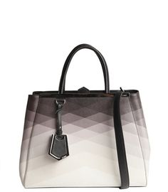 Fendi black and ivory ombre pattern detail '2Jours' medium shopper tote