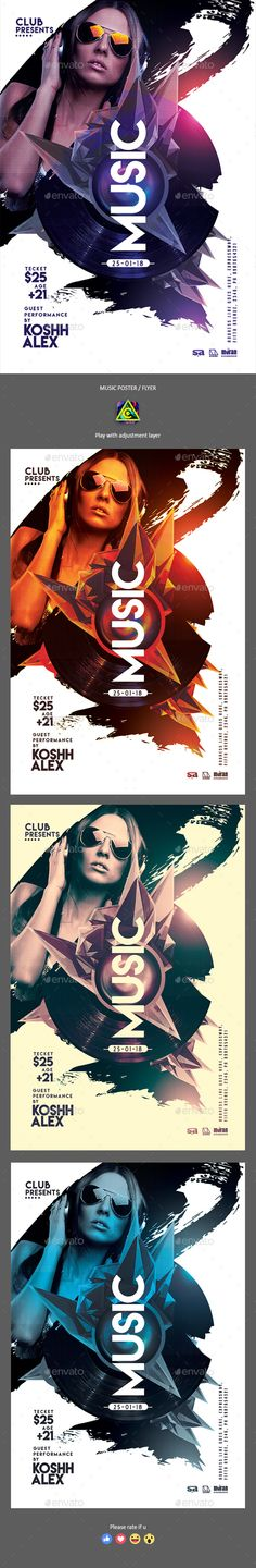 Music Party Poster / Flyer — Photoshop PSD #lines #flyer • Download ➝ https://graphicriver.net/item/music-party-poster-flyer/21399922?ref=pxcr