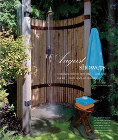 Outdoor shower, like the bamboo. Could use bamboo fencing rolls too Outdoor Baths, Outdoor Bathrooms, Outdoor Fun, Outdoor Decor, Outdoor Living Rooms, Outdoor Spaces, Outside Showers, Outdoor Showers, Jardin Luxuriant