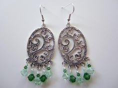 Handmade Elaborate Chandelier Swarovski Crystal Earrings Green Light Green Jewelry