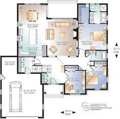 1st level U shape house design with 2-3 beds, Modern Rustic, home office & bonus space - Oakdale 3