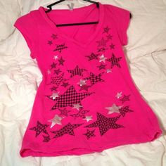 Cute Shirt! Excellent Condition! Hot Pink with Patter Black Stars! Max Rave Tops