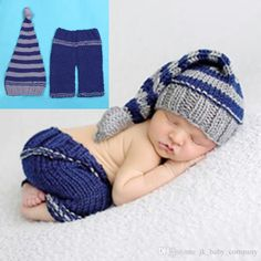 84e0ed025a2d4 Baby Photography Props Beanies Costume Crochet Outfit Knitted Infant Long  Tail Hat With Pants Children Clothing