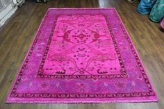 6x9 hot pink overdyed rug. lavendar, khaki, espresso, rose - one of a kind. Must see!