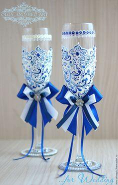"""Купить Свадебные бокалы """"Прихоть Невесты"""" синий+айвори. Роспись. - свадебные бокалы, свадебные аксессуары"""