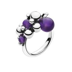 MOONLIGHT GRAPES ring - sterling silver with amethyst, small