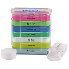 Pill Box Weekly Organizer Case with Pill Splitter Cutter - Premium Design - Large Travel Medication Reminder Daily with Am PM Day Night Compartments for 7 days - Medicine Dispenser Twice 3 4 Times a Day