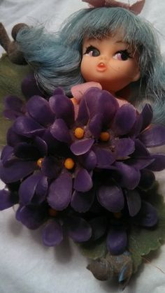 Little Violet Flower Darling Doll Vintage Toy Pin Brooch Collectible | eBay