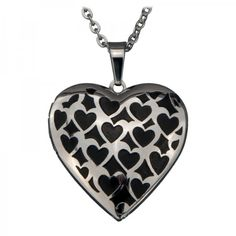 Stainless Steel Black Heart Polished Locket Pendant in just  $20.95