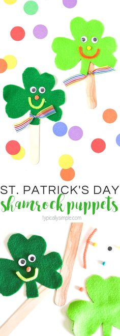 Using just a few basic craft supplies, make these cute felt shamrock craft stick puppets with the kids for St. Patrick's Day!