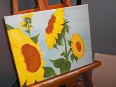 Acrylic sunflowers on canvas