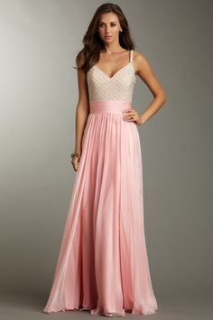 La Femme Beaded V-Neck Banded Gown. I wonder if you instantly feel like Barbie wearing this...