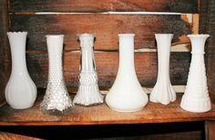 Small Milk Glass Bud Vases #budvases #milkglass #centerpieces #tablescapes #propsforhirepuyallup #eventdecor #weddingrentals #partyideas