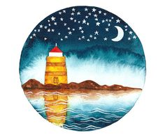 Kids room wall art Lighthouse watercolor original by bluepalette
