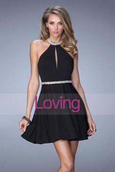 2015 Halter Homecoming Dresses A Line Short/Mini Backless