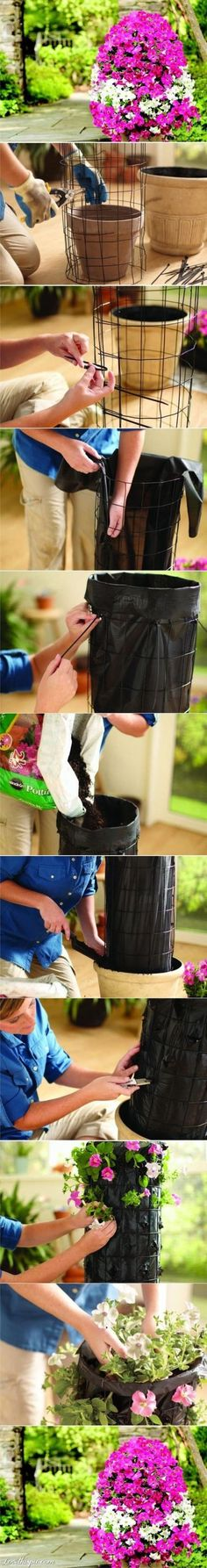 Maceta vertical DIY /  Via http://www.lovethispic.com/