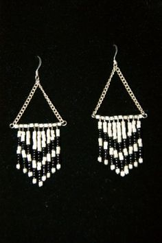 Black and white chervon earrings by BlondeMinerva on Etsy, $20.00