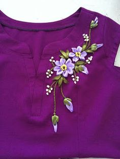 Wonderful Ribbon Embroidery Flowers by Hand Ideas. Enchanting Ribbon Embroidery Flowers by Hand Ideas. Embroidery On Kurtis, Kurti Embroidery Design, Hand Embroidery Dress, Embroidery Neck Designs, Embroidery On Clothes, Embroidery Suits, Hand Embroidery Videos, Embroidered Clothes, Hand Embroidery Stitches