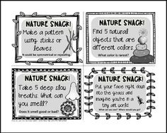 """FREE SCIENCE LESSON - """"Nature Snack Cards {36 prompts to squeeze nature into your class routine!}"""" - Go to The Best of Teacher Entrepreneurs for this and hundreds of free lessons. Kindergarten - 3rd Grade   #FreeLesson  #Science   http://www.thebestofteacherentrepreneurs.net/2016/07/free-science-lesson-nature-snack-cards.html"""