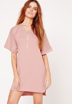 Missguided - Short Sleeve Zip Front Oversized T-Shirt Dress Nude