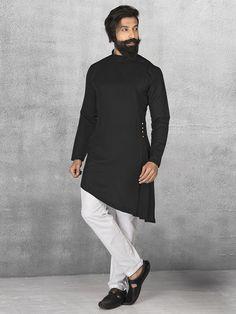 Shop terry rayon black kurta suit online from india. Mens Indian Wear, Indian Groom Wear, Indian Men Fashion, India Fashion, Suit Fashion, Mens Fashion, Kurta Pajama Men, Kurta Men, Mens Sherwani