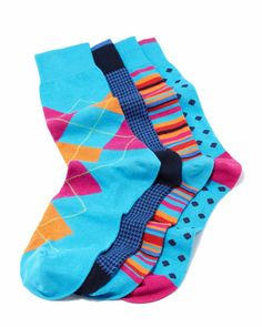 Men\'s 4-Pair Boxed Sock Set, Blue Multi by Neiman Marcus at Neiman Marcus.